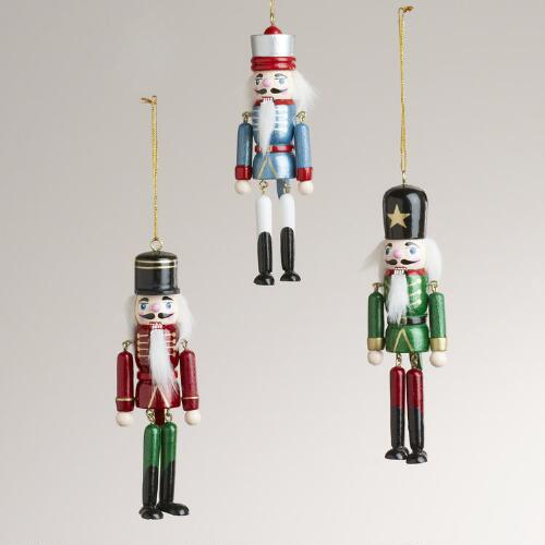 Wood Dangling Leg Nutcracker Ornaments, Set of 3