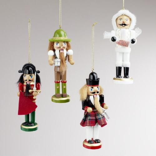 Wood International Nutcracker Ornaments, Set of 4