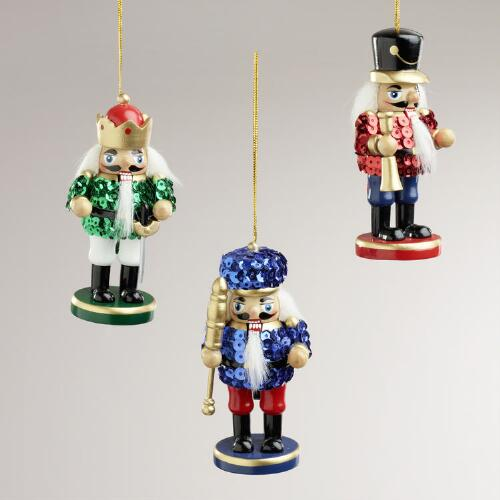 Wood Sequined Nutcracker Ornaments, Set of 3