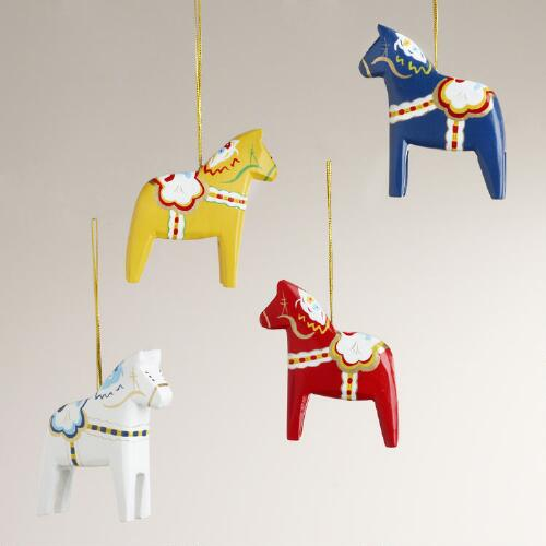 Wood Swedish Horse Ornaments, Set of 4