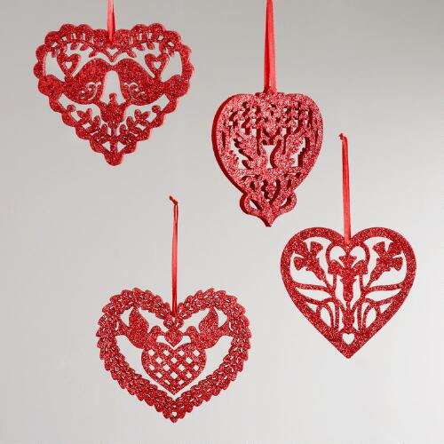 Laser Cut Wood Glitter Heart Ornaments, Set of 4