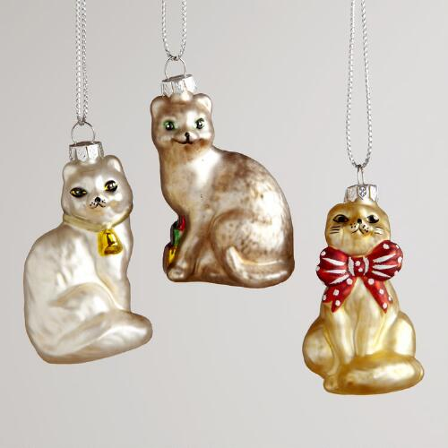 Glass Mini Cat Ornaments, Set of 3