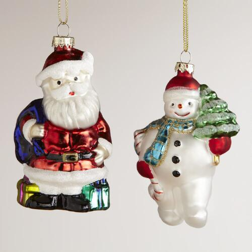 Glass Santa and Snowman Ornaments, Set of 2