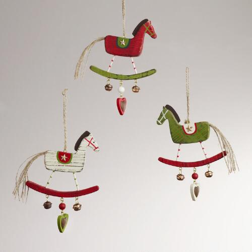 Wood Rocking Horse Ornaments, Set of 3