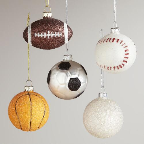 Glass Sports Ball Ornaments, Set of 5