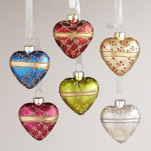 Glass Mini Heart Ornaments, Set of 6
