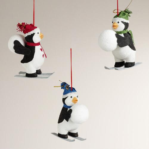 Paper Penguin on Skis Ornaments, Set of 3