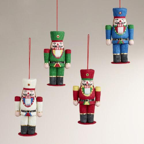Paper Nutcracker Soldier Ornaments, Set of 4