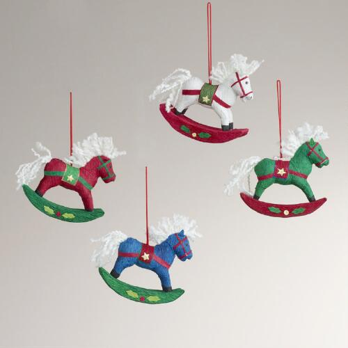 Paper Rocking Horse Ornaments, Set of 4