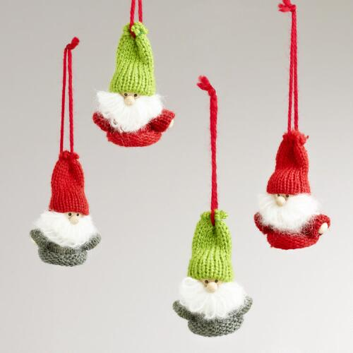 Wood Knitted Gnome Ornaments, Set of 4
