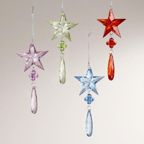 Glitter Star Drop Ornaments, Set of 4