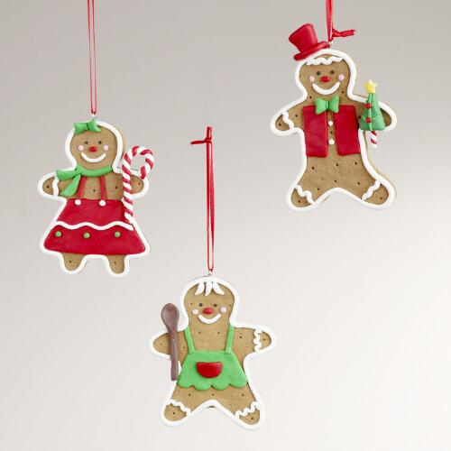 Clay Gingerbread Ornaments, Set of 3