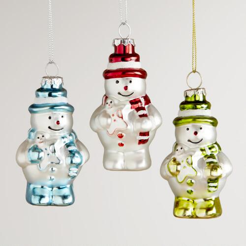 Glass Mini Snowman with Top Hat Ornaments, Set of 3