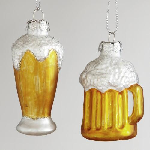 Glass Beer Pilsner and Mug Ornaments, Set of 2