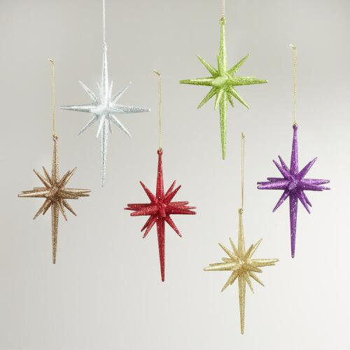 Glitter Pointed Star Ornaments, Set of 6