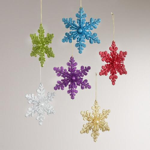 Glitter Snowflake Ornaments, Set of 6