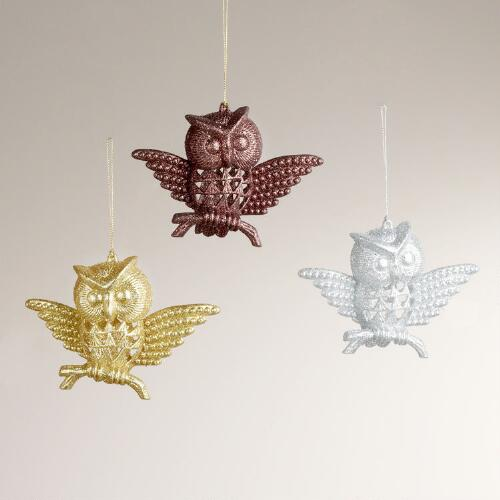 Glitter Owl Ornaments, Set of 3