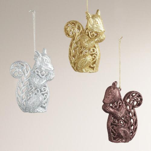 Glitter Squirrel Ornaments, Set of 3