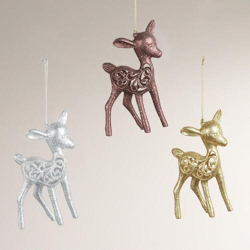 Glitter Reindeer Ornaments, Set of 3
