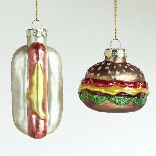 Glass Hot Dog and Burger Ornaments, Set of 2