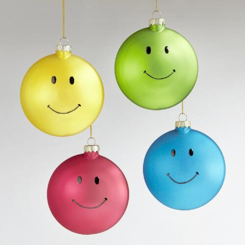 Glass Happy Face Ornaments, Set of 4