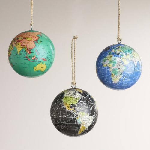 Paper Globe Ornaments, Set of 3