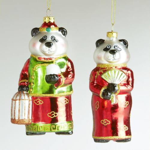 Chinese Panda Ornaments, Set of 2