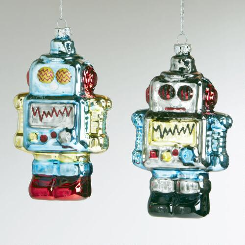 Glass Robot Ornaments, Set of 2