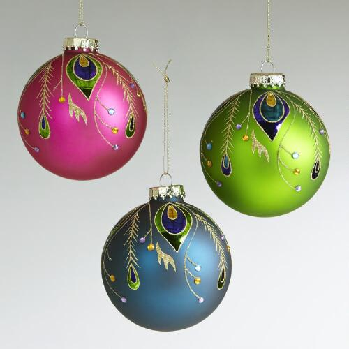 Glass Peacock Feather Ball Ornaments, Set of 3