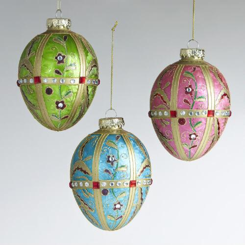 Glass Jewel Tone Egg Ornaments, Set of 3