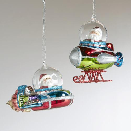 Glass Space Santa Ornaments, Set 2