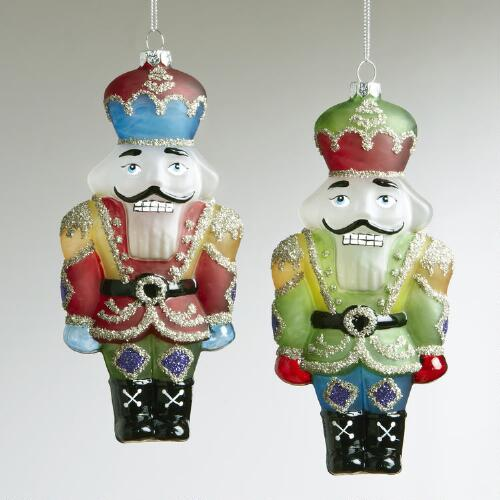 Glass Nutcracker Soldier Ornaments, Set of 2