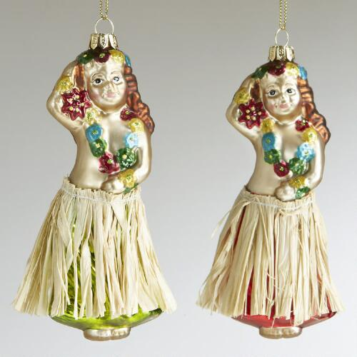 Glass Hula Girl Ornaments, Set of 2