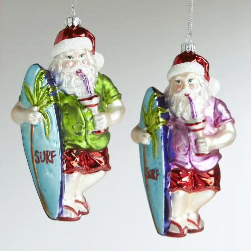 Glass Surfing Santa Ornaments, Set of 2