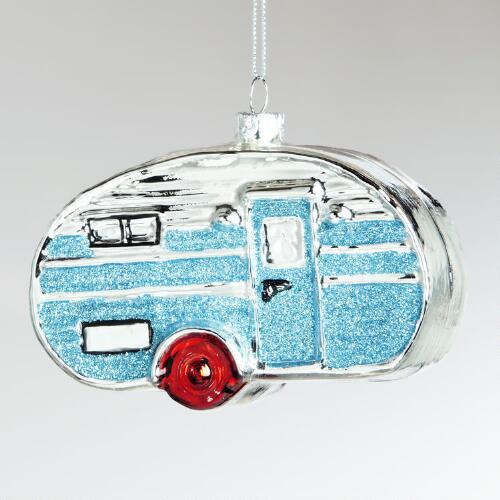 Glass Retro Camper Ornament