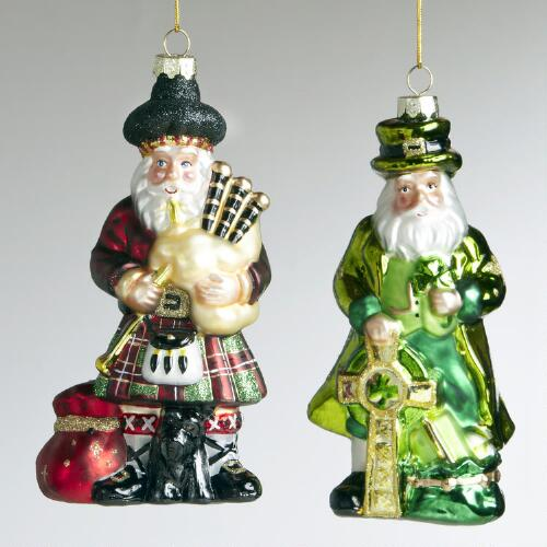 Glass Scottish and Irish Santa Ornaments, Set of 2
