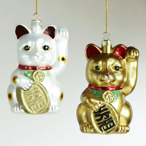 Glass Lucky Cat Ornaments, Set of 2