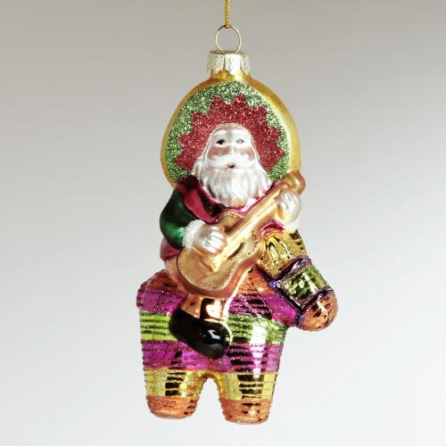 Glass Santa on Piñata Ornament