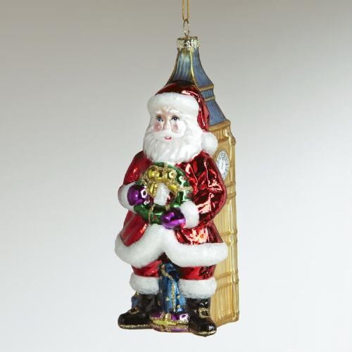 Glass Santa with Big Ben Ornament