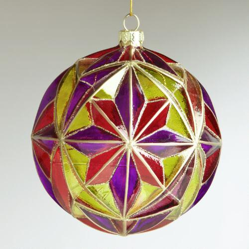 Glass Multifaceted Ball Ornament