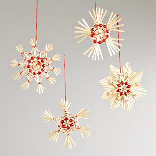 Boxed Straw Scandinavian-Style Ornaments, Set of 4