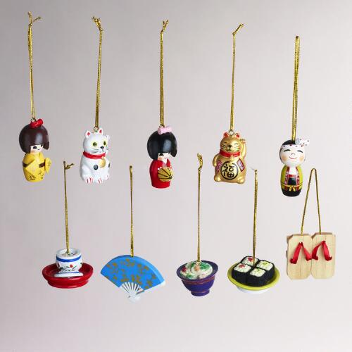 Wood Japanese-Style Ornaments, Set of 10