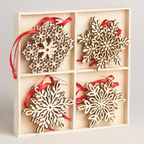 Wood Laser-Cut Snowflake Ornaments, Set of 12