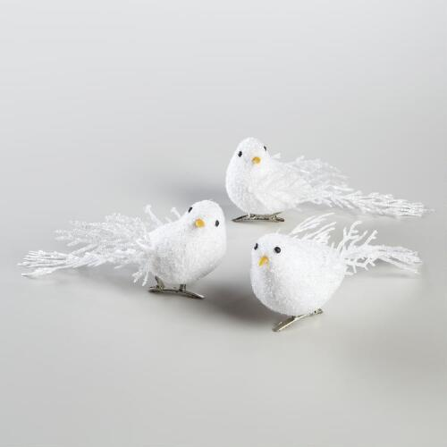 Boxed White Glitter Bird Clip Ornaments, Set of 3