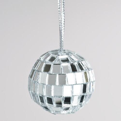 Silver Disco Ball Ornaments, Set of 27