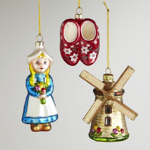 Glass Holland Ornaments, Set of 3