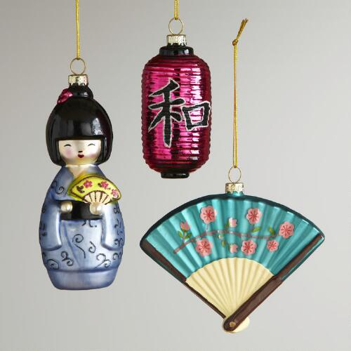 Glass Japan Ornaments, Set of 3