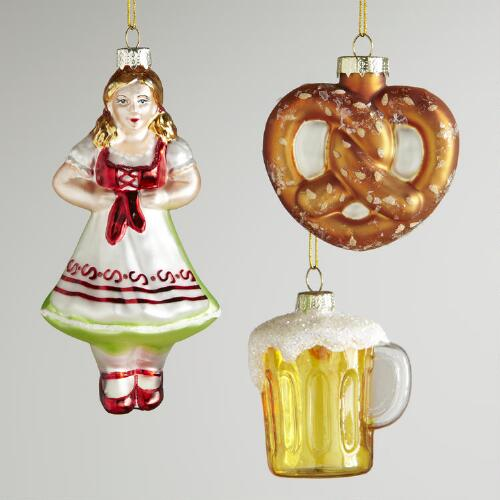 Glass Germany Ornaments, Set of 3