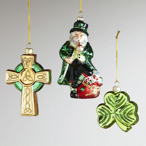 Glass Ireland Ornaments, Set of 3