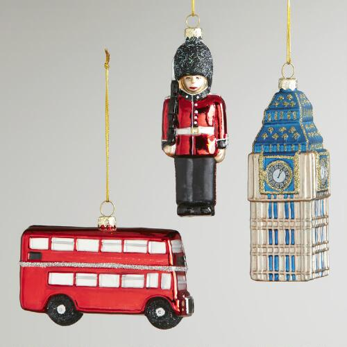 Glass England Ornaments, Set of 3